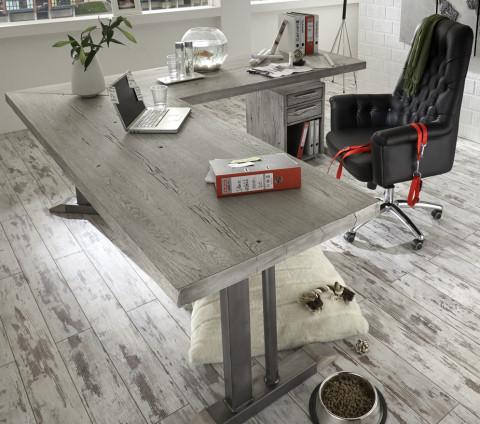 Schreibtisch massivholz for Schreibtisch wildeiche